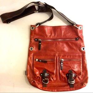 TANO Anthropologie Crossbody leather Bag orange